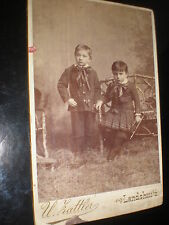 Cdv cabinet old photograph children trumpet by Hattler Landshut Germany c1890s