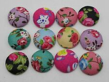 50 Mixed Color Flatback Fabric Flower Covered Buttons 12mm Round Cabochon for Cr