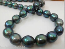 HUGE 11-12MM NATURAL TAHITIAN GENUINE BLACK PEACOCK BLUE PEARL NECKLACE 22''