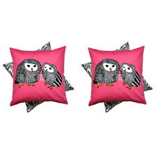 IKEA GULORT - Set of 2 Cushion Covers Pink Owls Reversible Polycotton 20 x 20
