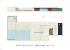 Ludwig Mies van der Rohe Barcelona Pavillon Poster Kunstdruck Bild 50x70cm