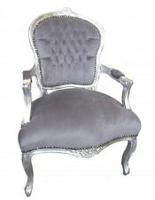 FRENCH LOUIS GREY VELVET SALON CHAIR WITH SILVER LEAF FRAME @AUNTIES PARLOUR WO