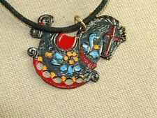 VTG Japanned Metal Enamel Rocking Horse Pendant Necklace w/ Glass Braided Chord