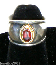 Retired James Avery Garnet Ring 18kt Gold and Sterling Silver Vintage~ Beautiful