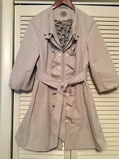 Idra Anthropologie Ruffle Trench Coat Sz 12