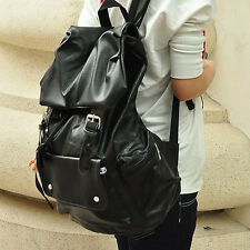 2015 Men Fashionable Cool Large Backpack PU leather Satchel Travel Bag Black