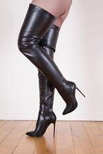 Giaro Elegance Luxus Damen Herren Stiefel Overkneestiefel schwarz matt EU 46