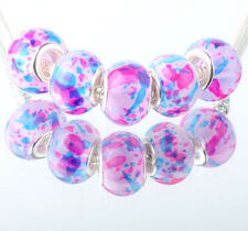 5pcs SILVER MURANO GLASS BEAD LAMPWORK fit European Charm Bracelet DIY #E334