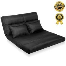 New Lounge SOFA BED DOUBLE Size Floor Recliner Chair Adjustable Foldable Black