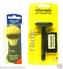 WILKINSON SWORD DOUBLE EDGE RAZOR &  SHAVING BRUSH SET. .WITH SAME DAY DISPATCH