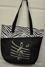 NWT MUSIC NOTE TOTE BAG RHINESTONE AND ZEBRA ACCENTS