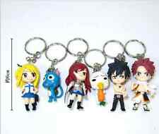 6PCS Anime Fairy Tail  Natsu Happy Lucy Gray Erza Plue Figure Keychain Keyring