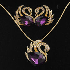 New 14k Gold Filled Swan Amethyst Austrian Crystal Necklace Earrings Set