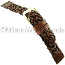 20mm Kreisler High Quality Hand Woven Fully Braided Brown Leather Watch Band