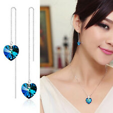 Fashion Jewellery 925 Sterling Silver Plated Crystal Thread Link Drop Earrings