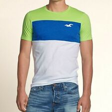New Hollister Mens Green / Blue Multi Stripe Slim Muscle T-Shirt Size Large