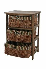 WICKER MAIZE 3 DRAWER CABINET CHEST BASKET BATHROOM BEDROOM HALLWAY UNIT BROWN