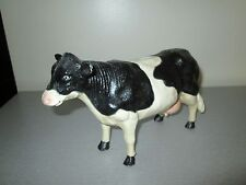 """Vintage Black and White Cast Iron Cow Bank 10"""""""