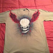 Flaming Skull Mens XL T-shirt Airbrushed one of a kind