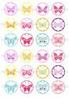 24 Butterfly Butterflies Wafer Rice Paper Cupcake Topper Edible Fairy Cake Tops