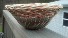 Magnificent Tamarack Artisan Signed Handmade Pottery Wicker Basket Bowl Unusual