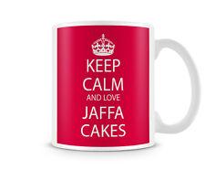 Restez calme et amour Jaffa gâteaux fond rouge imprimé Mug en Céramique Cadeau Idéal