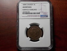 1858 Canada 1 Large Cent coin NGC AU Key Date!