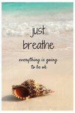 """INSPIRATIONAL QUOTE """"JUST BREATHE"""" BEACH IMAGE A4 POSTER GLOSS PRINT LAMINATED"""