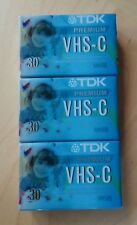 (Lot of 3) Tdk Premium Vhs C Camcorder 30 Minute Tapes New & Factory Sealed