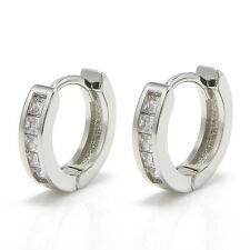 1 pair Women Men's Stainless Steel Rhinestone Crystal Huggie Hoop Studs Earrings