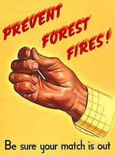 ART PRINT POSTER ADVERT 1944 PREVENT FOREST FIRES SAFETY NOFL1409
