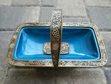Vintage 1960's Blue Enameled Brass Carved Judaic Passover Basket Israel Hebrew