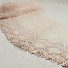 1 Yard Nude Unilateral Embroidered Lace Trim Tulle For DIY Craft Wide 8""