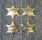 4 NEW METAL TOY SHERIFF BADGES WEST COWBOY SILVER SHERIFF'S BADGE PARTY FAVORS