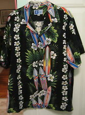 "NEW RJC Mens 2XL Black Floral Cotton Hawaiian Shirt w/Surfboards ~ 56"" Chest"