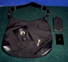 Women's Purse or Travel Bag & Small Black Cell Phone Case & Vntg Small Mirror