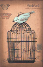 Wall Art Wooden Frame Sign 3D Bird French Provincial Script Rustic 60cm