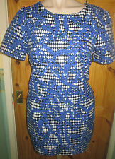 ATMOSPHERE BLUE/BLACK/WHITE PRINT LINED SHORT SLEEVE TUNIC DRESS SIZE 16