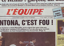 journal  l'equipe 11/05/88 FOOTBALL CANTONA A MARSEILLE AVANT MALINES AJAX