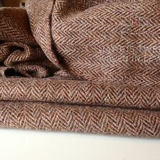 "Hand Woven Harris Tweed 100%Wool Herringbone High Class Fabric 75cm 29.5"" Walnut"