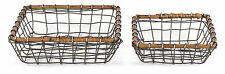 "Rustic Farmstead Nested Square Wire Basket Set w/ Rattan Rim, Lg = 10""Lx10""Wx3""H"