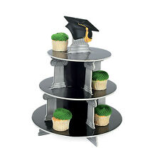 Black & Silver Congrats Grad Tassel Graduation Cupcake Stand Party Decoration