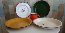 Vintage Kitchen *Multicolour Enamel Ware Plates, Bowls & Mug *Outdoors/Camping