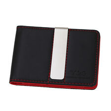 YCM14A01 Red Black Perfect Mens Leather Wallet Money Clip 10 Card Holders Y&G