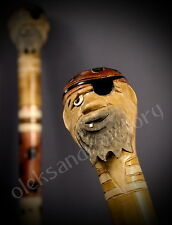 Pirate Hand Carvin Canes Walking Sticks Wooden Unique Handmade Cane Vintage