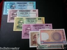 BANGLADESH 7 DIFFERENT PAPER MONEY CURRENCY 100 50 20 10 5 2 1 TAKA UNC SET
