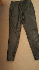DOROTHY PERKINS BLACK FAUX LEATHER TROUSERS PULL ON STYLE SIZE 10 - NEW
