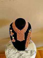 Hand Crafted Crystal Flowery  Women Jewelry Bead Set