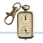 Classic Antique Bronze Tone Analog Dual Time Pocket Key Ring Chain Quartz Watch