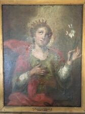 Antique 18th Century Baroque Oil Painting on Canvas ~ Portrait of Lady 38 x 31